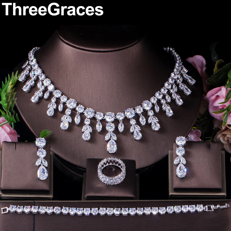 ThreeGraces Classic Cubic Zirconia Long Big Wedding Necklace Earrings Bracelet 4pcs Prom Costume Jewelry Set for Brides JS257