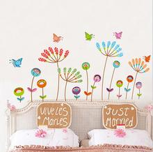 Colorful Butterfly Flower Dandelion Wall Stickers Cartoon Kids Girl Living Room Bedroom Vinyl Decoration Decal Home Decor Mural