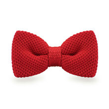 LF-301 Fashion New Arrival Knitted Crochet Men`s Bowties Adjustable Red Solid Neckwear For Men Party Bussiness Free Shopping