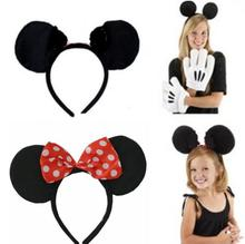 Minnie Mickey Mouse Ears Headbands Black Red Polka Dot Bow Birthday Party Favors Kids Birthday Party Suppliers