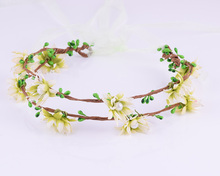CXADDITIONS handmade Flower Garland Floral Crown Bridal Headband Hairband Wedding Party Prom Festival Artificial Flower Wreath(China)