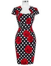 Sexy Women Dress Robe Retro Vintage Cap Sleeve Hips-Wrapped Slim Fitted Office Dress Floral Patterns Sheath Bodycon Pencil Dress(China)