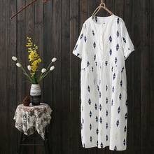 Sen Summer New Quilted Printed Cotton Short-sleeved Dress Loose Big Yards Long Section of Mixed Colors V Collar Dress