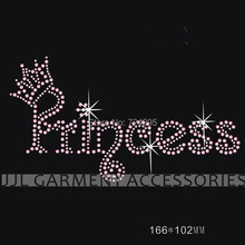 Korean Rhinestone Hot Fix Motifs crown letter 5PCS /lot color could be changed