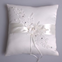 handmade white wedding ring pillow white lace ring pillow for wedding diamond and pearl decoration ring pillow