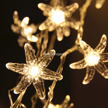 2M 20 LED Fairy String Lights winter jasmine flower Battery Operated Xmas Christmas Garland Wedding Party luces decorativas(China)