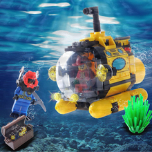 Treasure Hunt Tiny Submarine 3D DIY Military Technology Building Blocks Bricks Set For Kids Submarine Marvel
