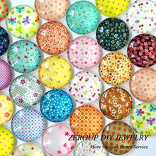 ZEROUP 12mm round glass cabochon New Floral pictures mixed pattern fit cameo base setting for flat back jewelry 50pcs/lot