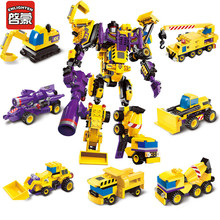 ENLIGHTEN Plastic Toys Seven Trucks Transform One Robot Bricks Compatible Building Blocks Christmas Gifts for Boys Birthday(China)