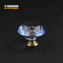 40mm color crystal diamond glass knob furniture accessories bathroom drawer cupboard dresser handle hardware accessories metal(China)