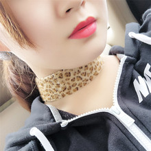 New Design Inspired Plain Hair Suede Ribbon Leopard Choker Necklace Gothic Handmade Gothic Emo For Women O-318