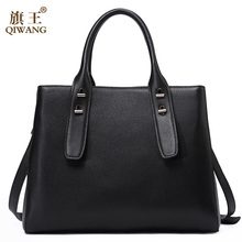 QIWANG Designer Genuine Leather Bags France Woman Famous Brand Women Handbags Elegant Tote Bag High Quality for Women(China)