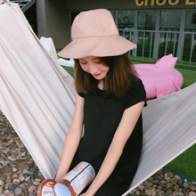 HT1260 2017 New Solid Black Bucket Hat Plain Cotton Fisherman Cap for Summer High Quality Panama Boonie Hat Foldable Beach Hats