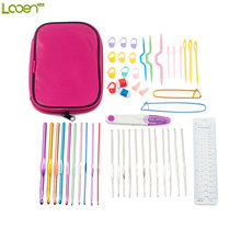 Looen Brand High Quality With Pink Bag 22Pcs Set Multi-colour Aluminum And Silver Crochet Hooks Needles Knit Weave Craft Yarn