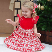 Infant Baby Girls Christmas Ruffle Lace Headband Dress Jumpsuit Outfit Clothes Cotton Cute Babe Girls Kids Dresses Red Clothes(China)