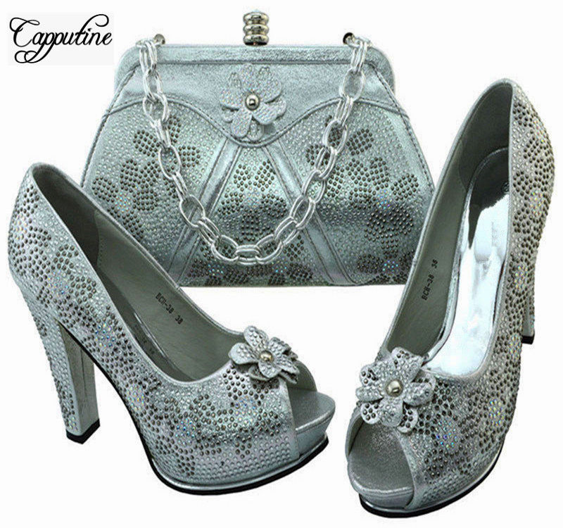 Capputine African Design Ladies Silver Shoes And Bag Sets Italian Rhinestones High Heels Shoes And Bag Set For Party BCH-38