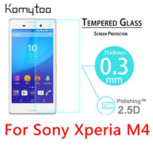 "M4 0.3mm 9H 2.5D Explosion-Proof Toughened Tempered Glass For Sony Xperia M4 Aqua Dual 5"" LCD Film HD Arc Screen Protector Cover"