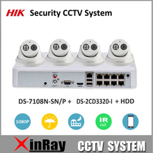 HIK 1080P Security Camera Kit POE NVR DS-7108N-SN/P & IP Camera DS-2CD3320-I Security CCTV System for Home Easy to Install