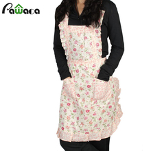 Cute Cooking Apron with Pocket Floral Roses Hot Sale Adjustable Handmade Apron Bib Uniform for Cooking Kitchen Chef Waitress
