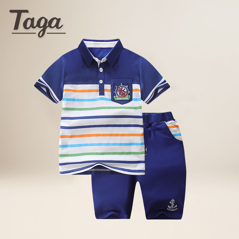 TAGA childrens clothing set 2017 summer new boy knitted short sleeved suit large children stripe POLO shirt casual pants 2pcs<br>
