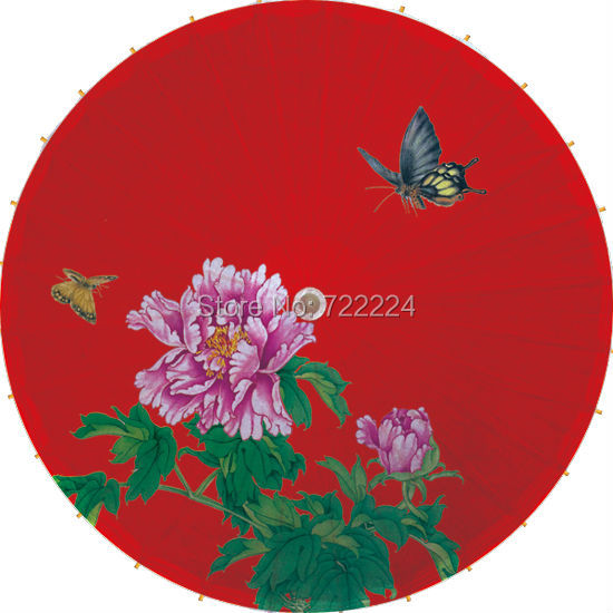 Free shipping Elegant chinese classical wedding red background purple peony butterfly oiled paper parasol decoratival umbrella<br>