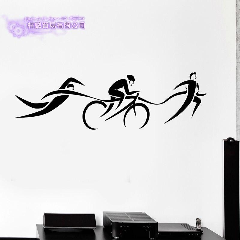 DCTAL Triathlon Sticker Run Riding Swimmer Decal Swimming Posters Vinyl Wall Decals Pegatina Decor Mural Swim Sticker