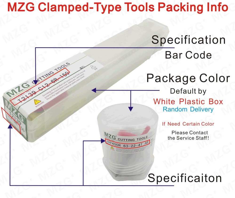 MZG Clamped-Type Tools Packing Info