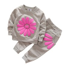 2pcs Spring Autumn Children Sets Clothing Baby Girls Casual Suit Sunflower Casual Costume LH6s
