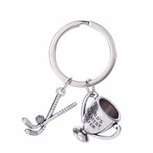 Skyrim World's Greatest Golfer Trophy Golf Stick & Ball Pendants Keychains Sporty Style Zinc Alloy Silver Plated Charm Keychain(China)