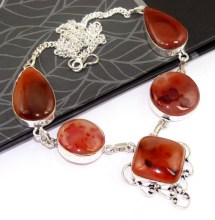 Carnelian Necklace   Silver Overlay over Copper , 47.7 cm, N0201