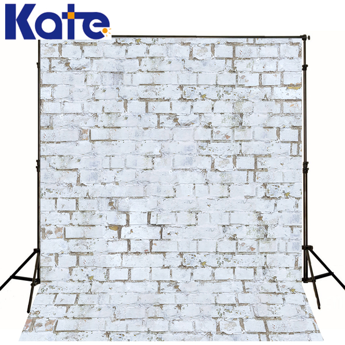Kate 8X8FT White Brick Wall Backdrops Photography Solid Color Wood Floor Background for Wedding Backdrops Studio<br>