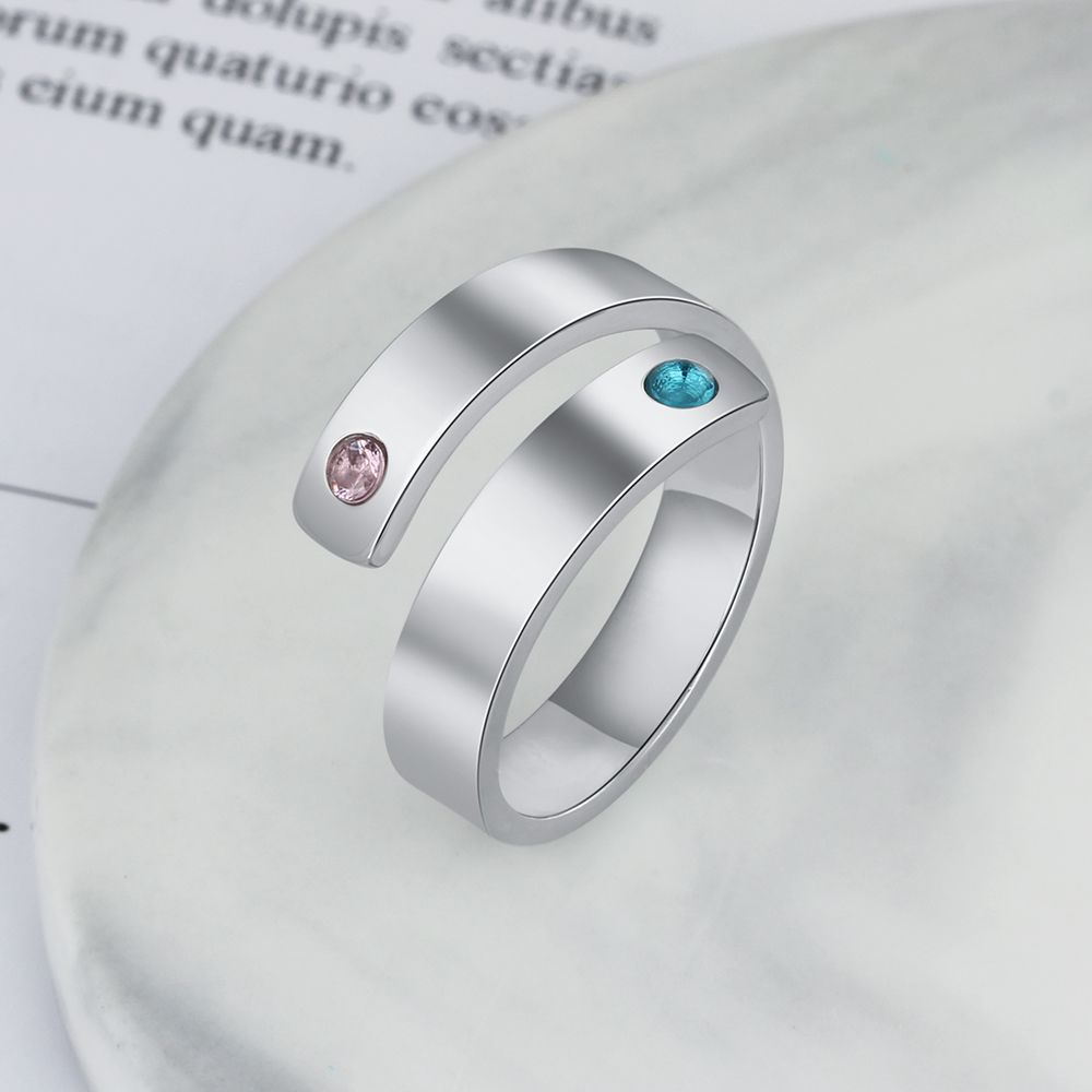 Silver High Quality Personalized Birthstone Ring