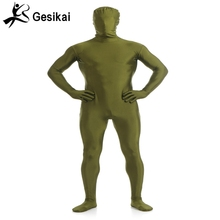 Adult Men Full Body Spandex Lycra Zentai Suit army green Second Skin Tight Suits Pure Color Halloween Party Unitard(China)