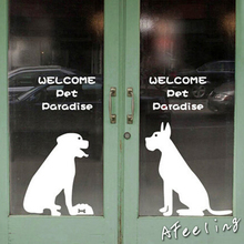Door welcome stickerPet dog cat store shop salon welcome sign sticker door window decoration wall sticker(China)