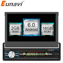 "Eunavi 2GB+16GB Android 6.0 Universal Single 1 DIN 7"" Car Radio Stereo Quad Core Head Unit Support Dual Zone Steering Wheel Came"