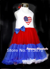 4TH July Girl Red White Blue USA Flag Heart Halter One Piece Petti Dress 1-8Year MAAS023