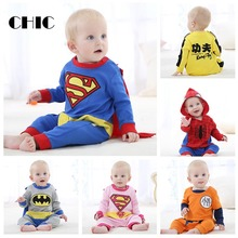 CHIC Baby One Piece Jumpsuit Cotton Round neck Covered Button Long Sleeve Superman Spiderman Super Hero Costume Cute Rompers