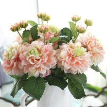 "1pc 18.5"" Dahlia Silk Flowers For Home Wedding Decoration Artificial 2 Heads Dahlia Flowers Fake Decorative Flower"