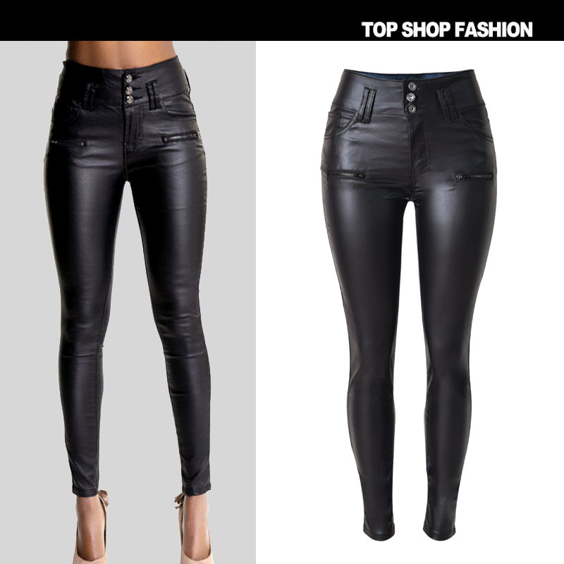 New  Couture  aliexpress hot explosion models 3 button slim waisted jeans PU imitation leather pants