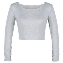 2017 Fashion Sexy Women Crooped Tops Long Sleeve Hot Clubwear Tops Cropped T-shirt Good Quality