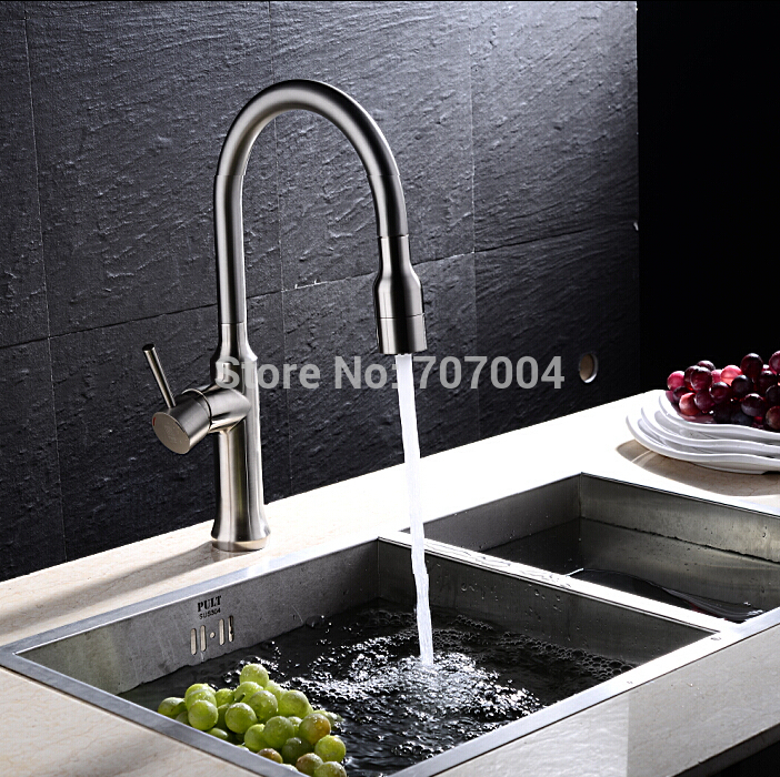 Creative Pull Out Brushed Nickel Kitchen Mixer Faucet Deck Mounted Dual Sprayer Kitchen Faucet Tap<br><br>Aliexpress