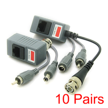 10x CCTV Transceiver Twisted Pair RJ45 UTP Balun BNC Audio Video DC Power CAT5(Hong Kong)
