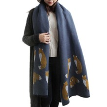 New Cashmere Scarf Designer Fox Printed Women Thicken Warm Cape Long Shawl Brand Shawls and Scarves Warm Pashmina Echarpes