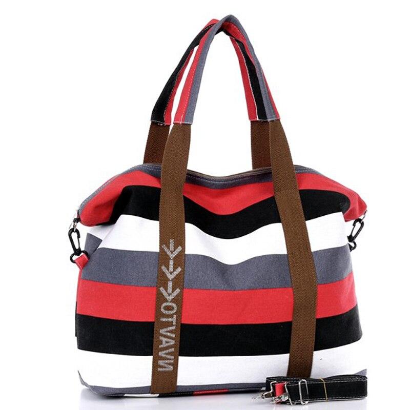 New Korean womens canvas bag Large package color stripes leisure package Handbag 5 colors Oblique shoulder bag<br>