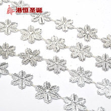 Christmas Tree Hanging Decoration 2m Length Silver Snowflake Sheets Chain Xmas New Year Home Party Wedding Ornament