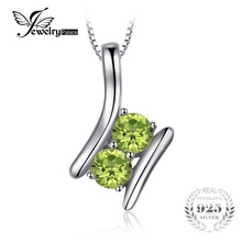 JewelryPalace Brand 0.82ct Natural Peridot 2 Stone Pendants Necklaces For Women 100% 925 Sterling Silver Box Chain Fine Jewelry(China)