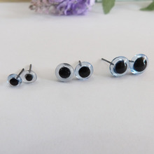 50pcs new items 3/4/5/6/7/8/9/10/11/12mm blue color glass toy eyes with pin for diy handcraft materials--size option(China)