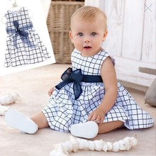 TTN Baby Dress Toddler Girl Kids Cotton One Piece Outfit Clothes Top Bow-knot Plaids Dress 0-3 Years