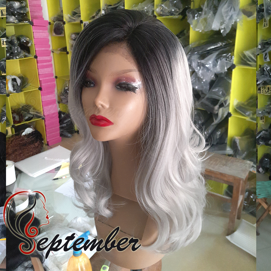 High Qulaity gray ombre body wave synthetic lace front wig heat resistant synthetic lace front wig for black women glueless wig<br><br>Aliexpress