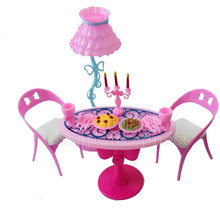 1 set Vintage Table Chairs For Dolls Furniture Dining Sets Toys For Girl Kid Pink For Barbie Dollhouse Accessories